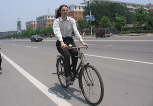 Riding a bicycle in China