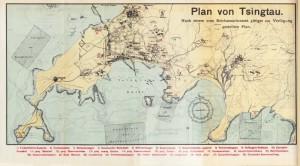Karte der Jiaozhou-Bucht um 1900